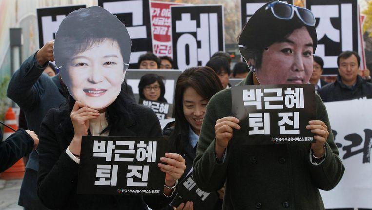 Demonstranten in Seoul. Beeld ap