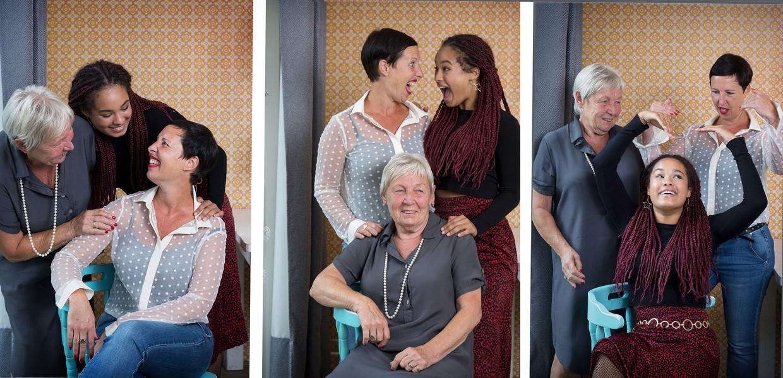 Oma Anneke Haaksman (75), moeder Glancy van Elst (44) en dochter Firy (16). Het drietal maakt zich vooral zorgen over de ouderenzorg. Firy: 'Het is gewoon respectloos'.