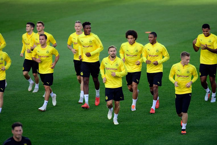 Dortmund vanmiddag tijdens de training in Jan Breydel.