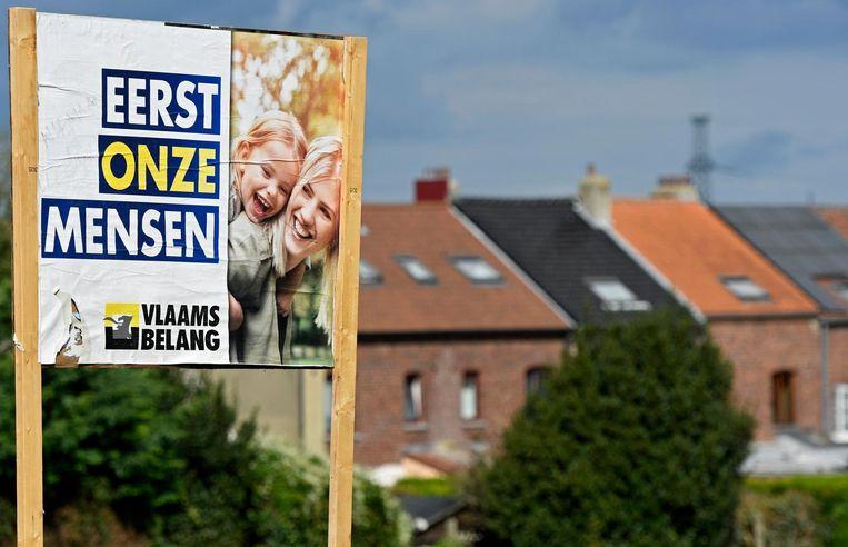Een affiche van Vlaams Belang.