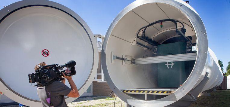 De hyperloop van Hardt is de eerste van Europa wordt getest bij de TU Delft. Beeld Maarten Hartman