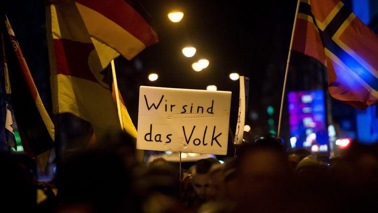 Supporters van de Duitse rechtse beweging Pegida. Beeld anp