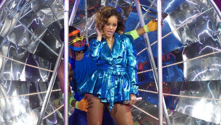 Rihanna tijdens een concert in Madrid, 15 december 2011. Beeld getty