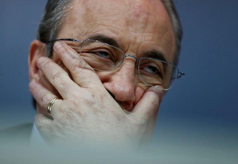 Een aangeslagen Real-voorzitter Florentino Pérez.