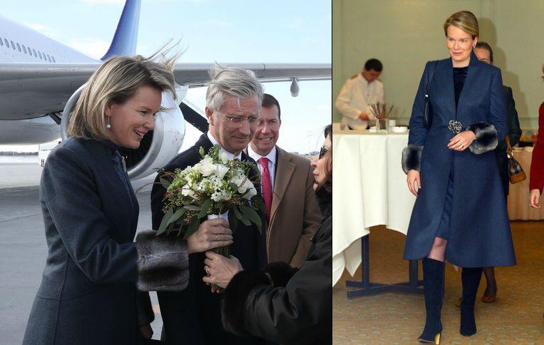 Mathilde in Canada in 2018 (links) en in Polen in 2003 (rechts) met dezelfde mantel