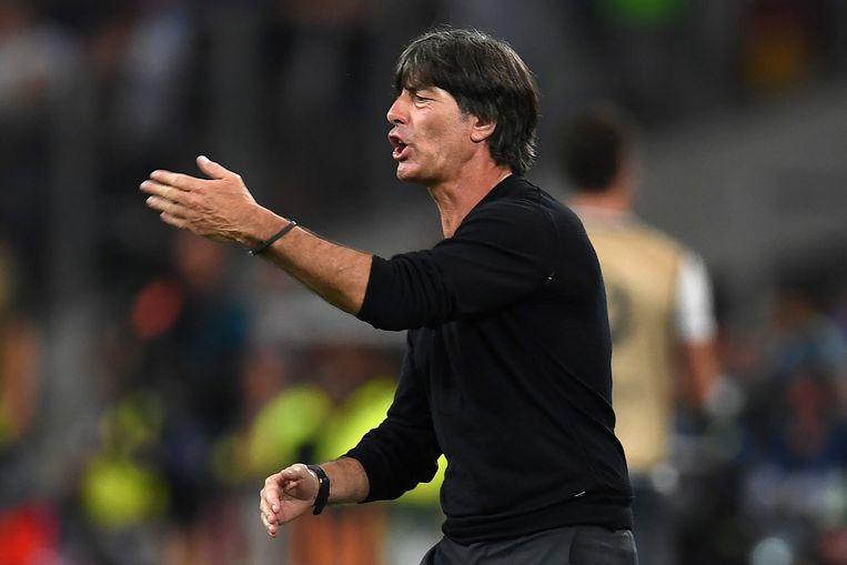 Joachim Löw tijdens de verloren halve finale tegen Frankrijk. Beeld AFP