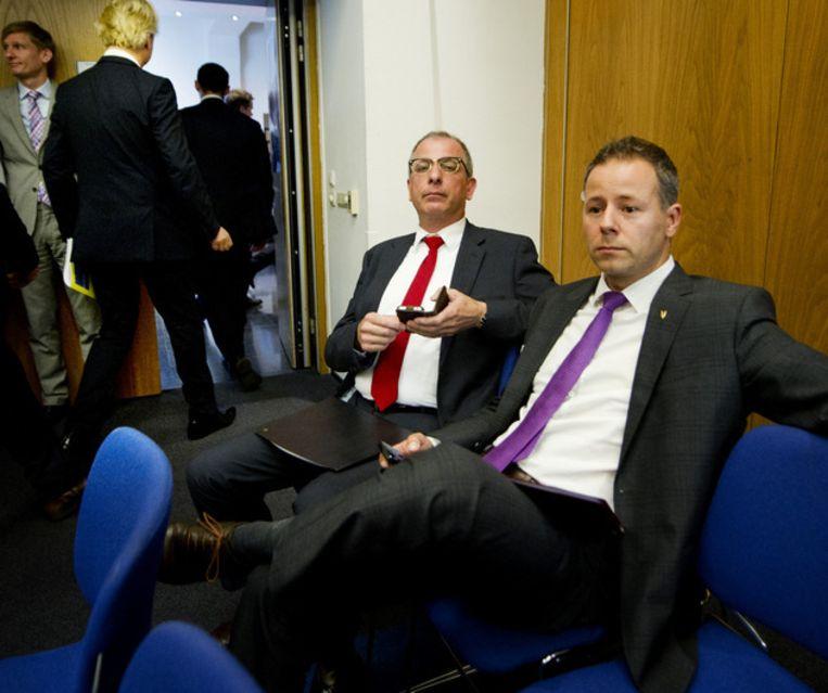 Kamerleden Marcial Hernandez en Wim Kortenoeven stapten vandaag uit de PVV. Beeld ANP