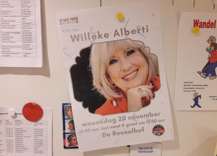 Willeke Alberti komt naar Stanislaus in Moergestel (De Reuselhof is de naam van het restaurantgedeelte in het zorgcentrum).