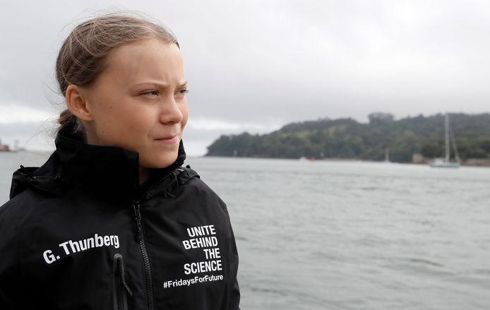 Greta Thunberg avant de prendre le large, direction New York.