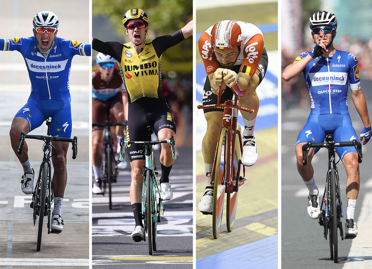 Vlnr: Philippe Gilbert, Wout van Aert, Victor Campenaerts en Remco Evenepoel.