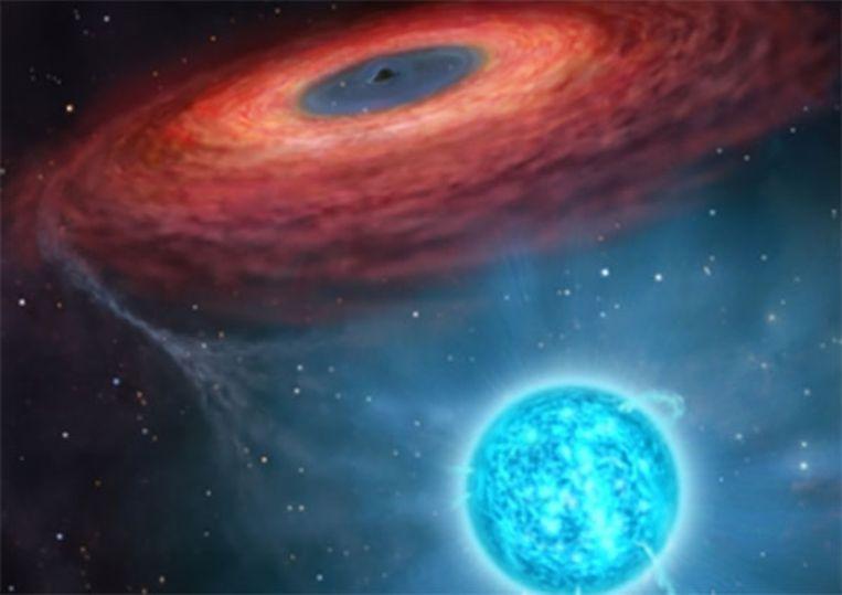 Een 'artist impression' van het zwarte gat.