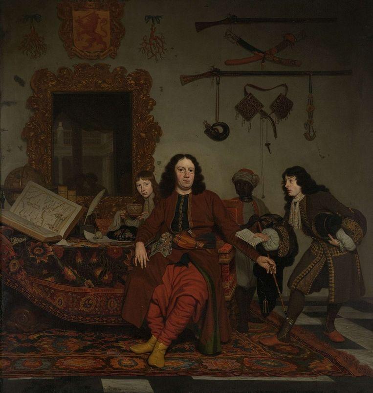 Groepsportret door Michiel van Musscher uit 1687, met een zwarte bediende achter de diplomaat Thomas van Hees en zijn neven. Om de hals van de bediende zit een metalen band. Beeld Collectie Rijksmuseum