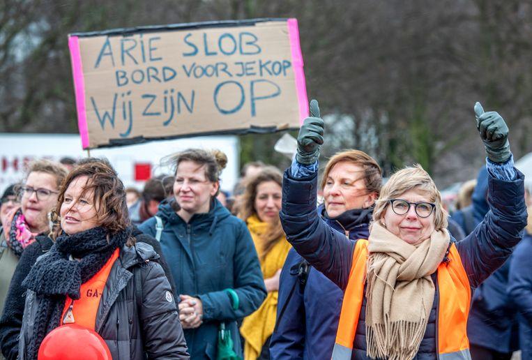 Lerarenstaking op het Malieveld in Den Haag in maart 2019. Beeld Raymond Rutting / de Volkskrant