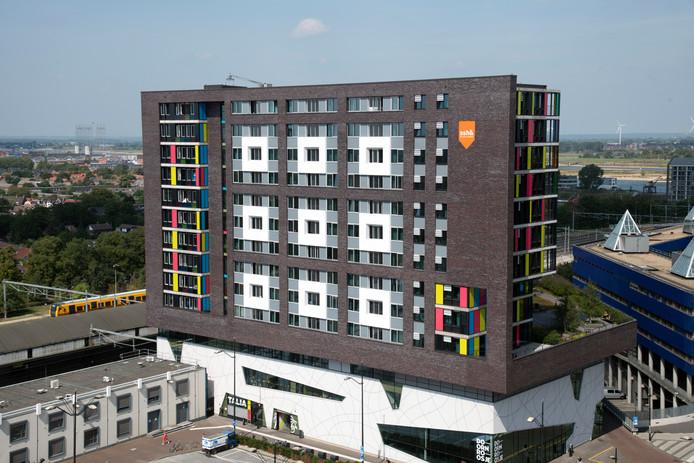 Doornroosje met studentenhuisvesting SSH&, gezien vanaf het dak van Metterswane