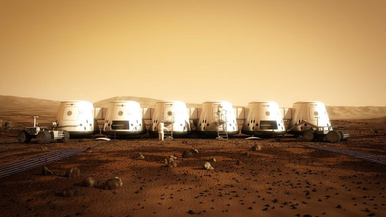 Een impressie van Mars One hoe het dorp op de Rode Planeet er in 2023 zou moeten uitzien. Beeld afp