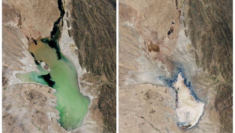 Twee satellietbeelden van het Poopó-meer. Links is het meer in 2013, rechts het meer op 16 januari. Beeld AP