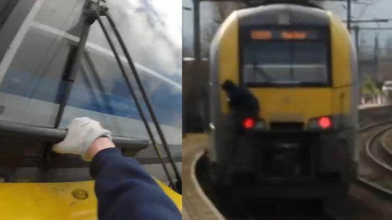 De man postte zelf een filmpje op YouTube waarop te zien is hoe hij minutenlang aan een trein hangt.
