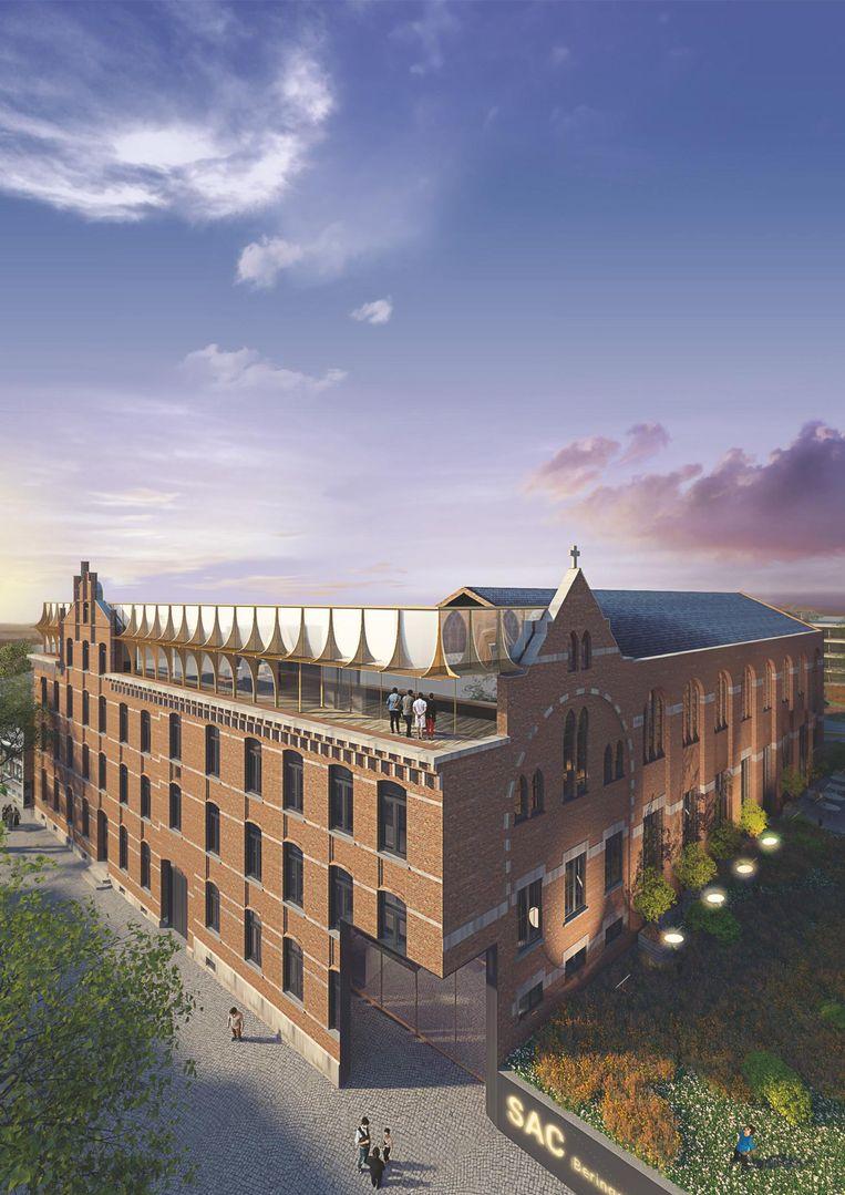 Het project omvat onder meer plannen voor een geheel nieuw stadhuis (l.), een nieuwe, moderne bibliotheek (m.) en Brasserie -Grand Café (r.), dat in de voormalige apotheek zal komen.