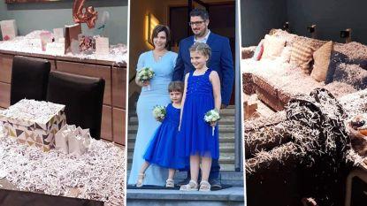 """Pasgehuwde Kimberly en Jonas vonden huis vol confetti, maar dienen dan toch geen klacht in: """"Het was een grapje"""""""