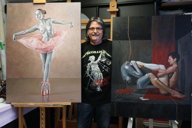 Kunstschilder Ronny Roels in zijn atelier.