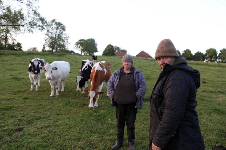 Landbouwerskoppel Stefan V. en Sonia S. bij enkele van hun runderen, in mei 2014.