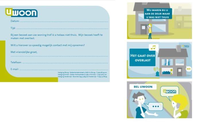 Voorbeeld van een 'u-was-niet-thuis-kaartje' nieuwe stijl, waarbij de bewoner in tekst en beeld wordt geattendeerd op het bezoek en de reden daarvan.