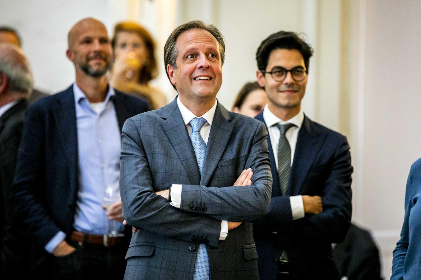 Voormalig D66-leider Alexander Pechtold tijdens zijn afscheidsreceptie in de Oude Zaal van de Tweede Kamer.
