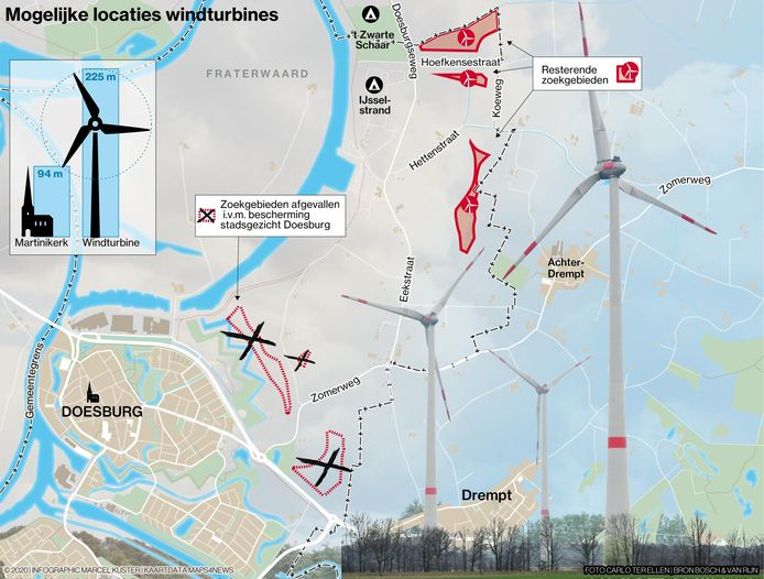 De resterende zoekgebieden voor windmolens op Doesburgs grondgebied liggen tegen Achter-Drempt aan.