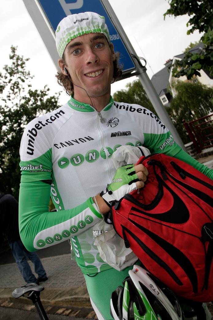Ten Dam in 2007 in het shirt van Unibet.com tijdens de Ronde van Luxemburg.
