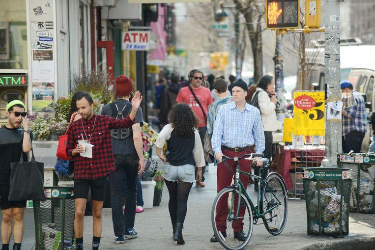 Het cliché straatbeeld van Brooklyn: hippe vogels met volle beurzen. Beeld Hollandse Hoogte / The New York