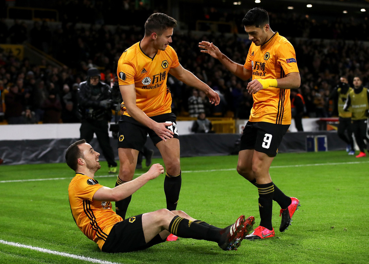 Wolverhampton Wanderers' Diogo Jota (left) celebrates scoring his side's third goal of the game with team-mates Leander Dendoncker and Raul Jimenez (right) ! only BELGIUM !