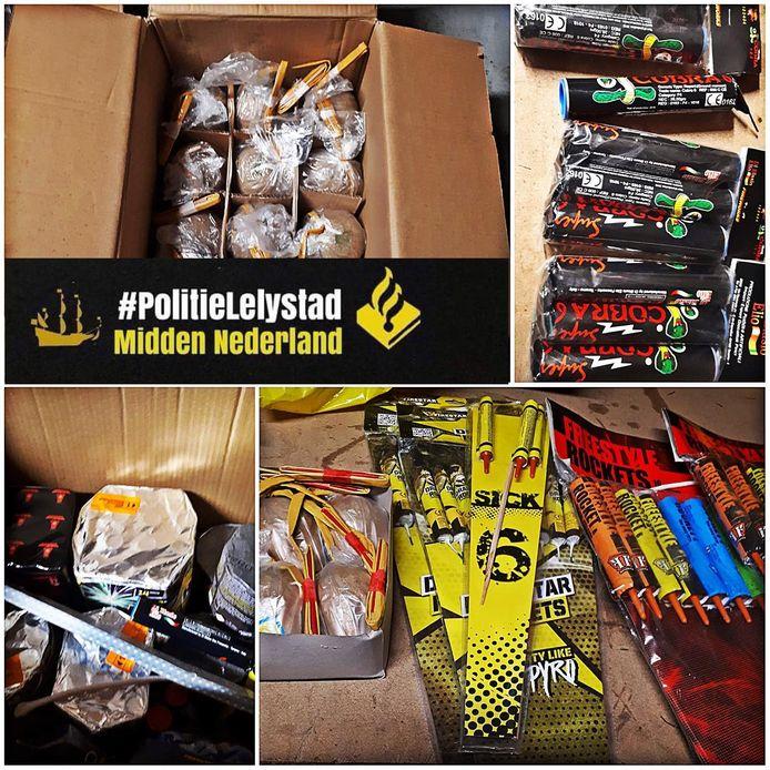 Op Facebook deelt de politie in Lelystad een foto van de onderschepte lading vuurwerk in een woning.