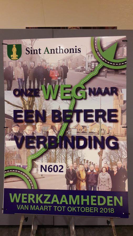 De poster toont de werkgroepen van Wanroij, Ledeacker en Sint Anthonis die de plannen maakten voor de N602.