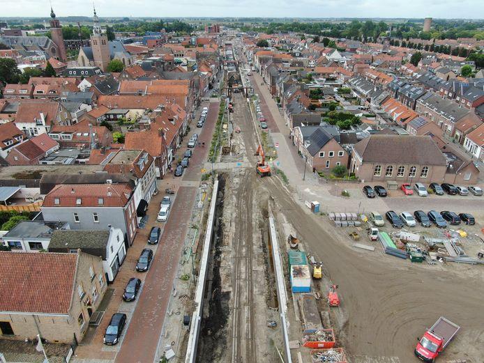 Bovenaanzicht van de in aanbouw zijnde haven van Zevenbergen, gefotografeerd met een drone door José Cijntje.