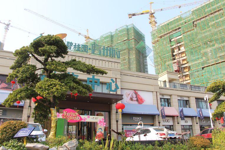 Het verkoopcentrum van Xinzhou Mansion wordt vormgegeven als een nepwinkelgebouw met etalages, om het meer uitstraling te geven. Beeld Leen Vervaeke