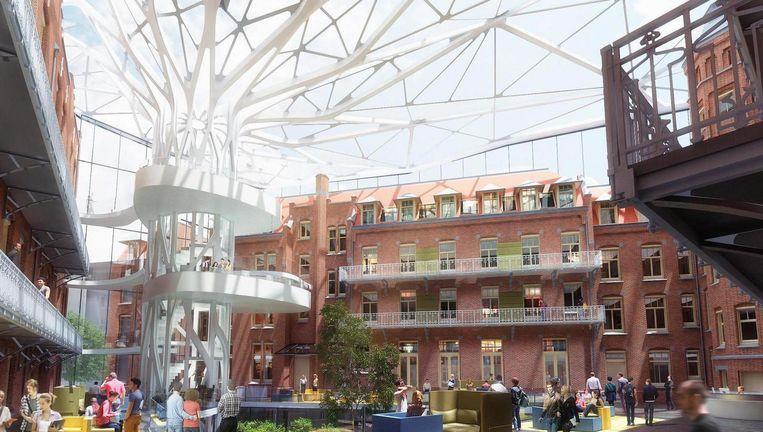 Artist impression van de nieuwe universiteitsbibliotheek Beeld MVSA en Van Stigt