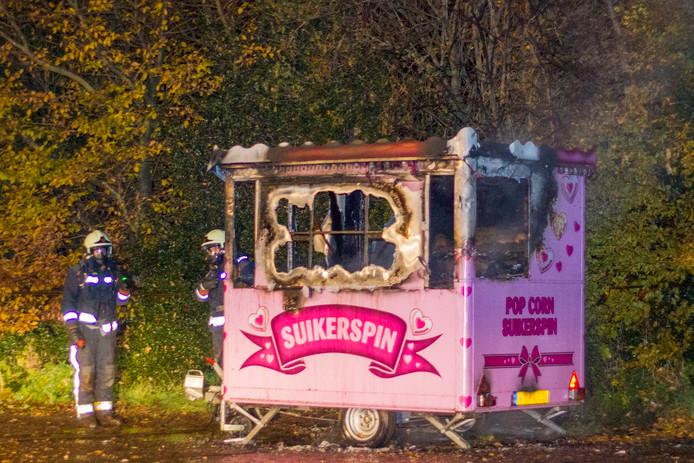 De suikerspinkraam werd verwoest door de vlammen.