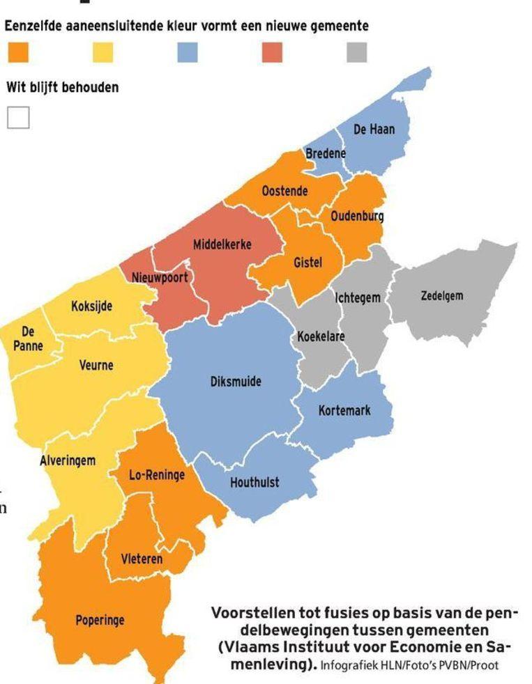 Voorstellen tot fusies op basis van de pendelbewegingen TUSSEN gemeenten (Vlaams Instituut voor Economie en Samenleving).