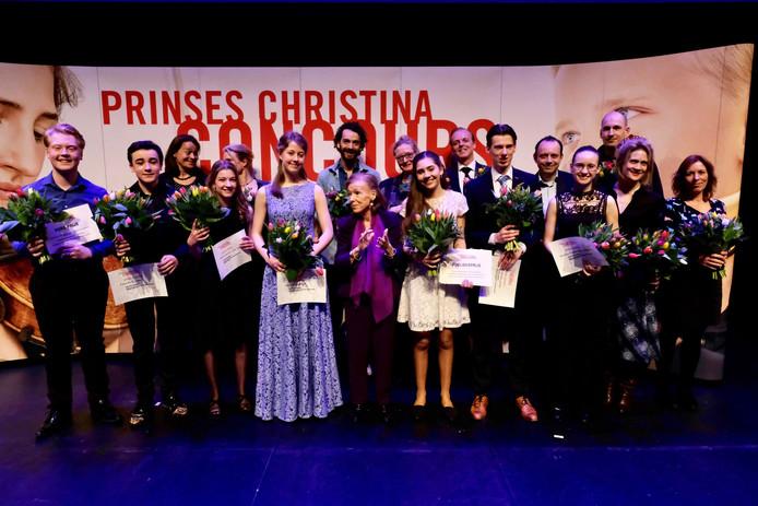 De winnaars van het Prinses Christina Concours 2019. Merle van der Lijke, harp (14 jaar, De Steeg) werd tweede in de categorie 12 t/m 14 jaar.