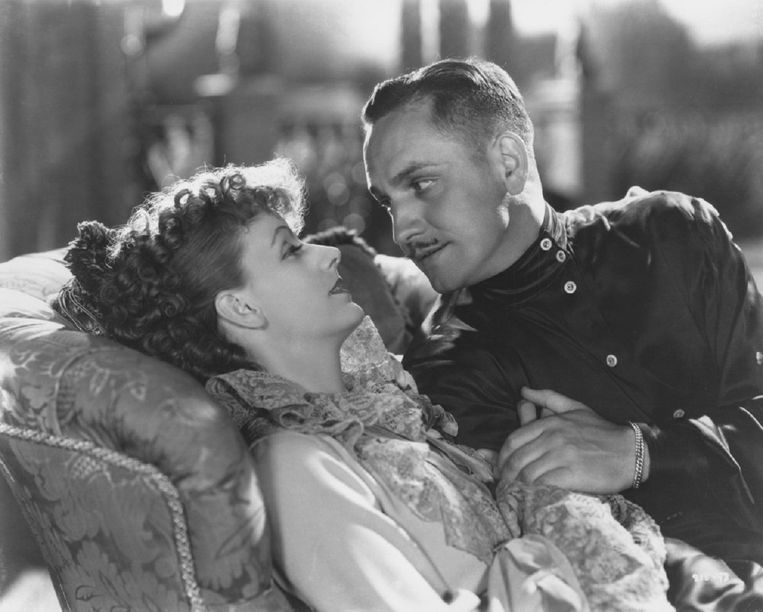 Greta Garbo en Fredric March in de film Anna Karenina (1935). Beeld -