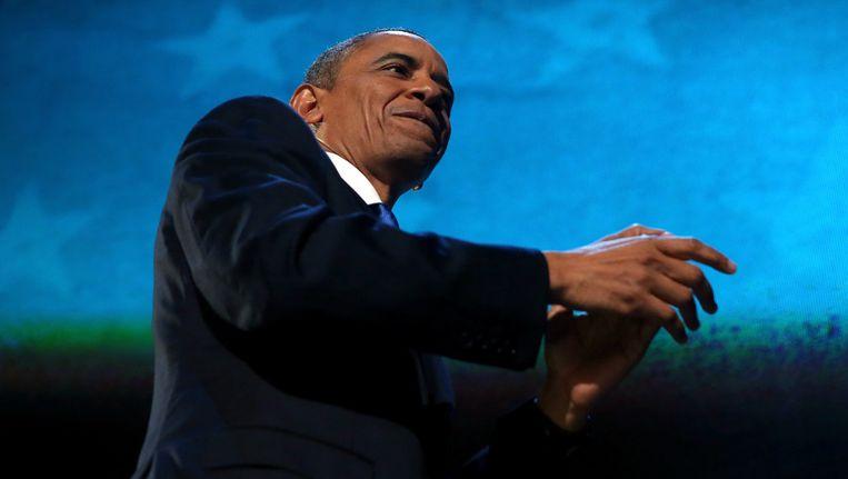 Obama op het podium Beeld getty