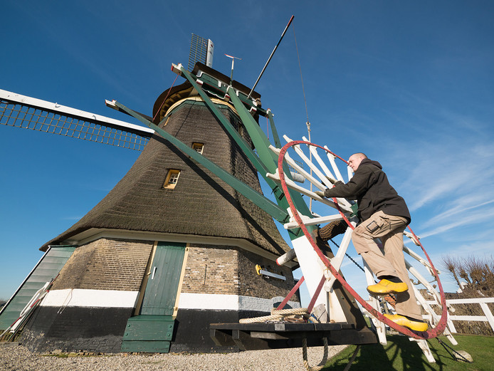 Eric van den Bosch, molenaar van de Bovenmolen, molen nr. 3 van de molenviergang van Aarlanderveen, gelegen vlakbij de Kortsteekterweg.