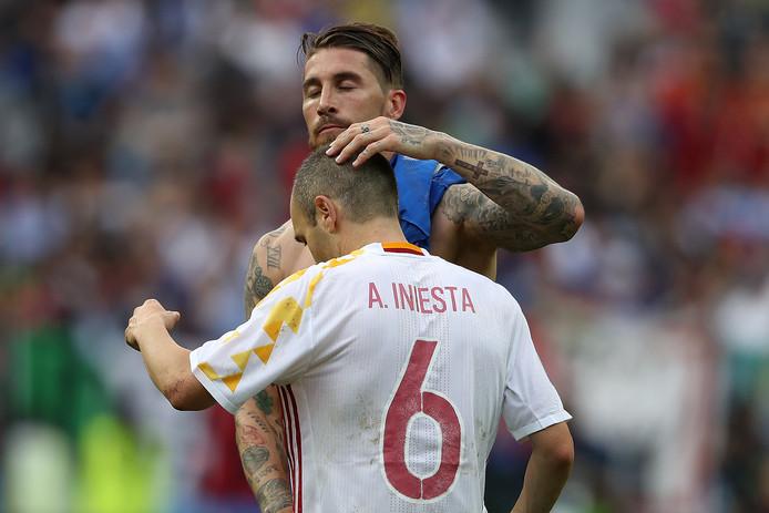 Sergio Ramos en Andrés Iniesta.