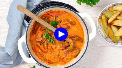 Zo poepsimpel kan koken met wild zijn: deze stroganoff met hinde maak je in één pan klaar