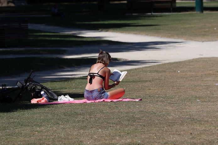Un jeune femme profite du soleil dans un parc à Bruxelles, le 7 août 2020.