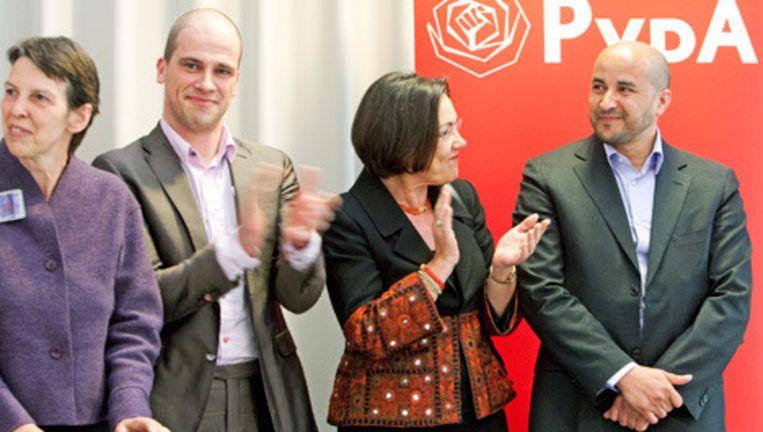 Jetta Klijnsma, Diederik Samson, Gerdi Verbeet en Ahmed Marcouch (vlnr). De Partij van de Arbeid presenteerde dinsdag haar concept-kandidatenlijst voor de Tweede Kamerverkiezingen. Foto ANP Beeld