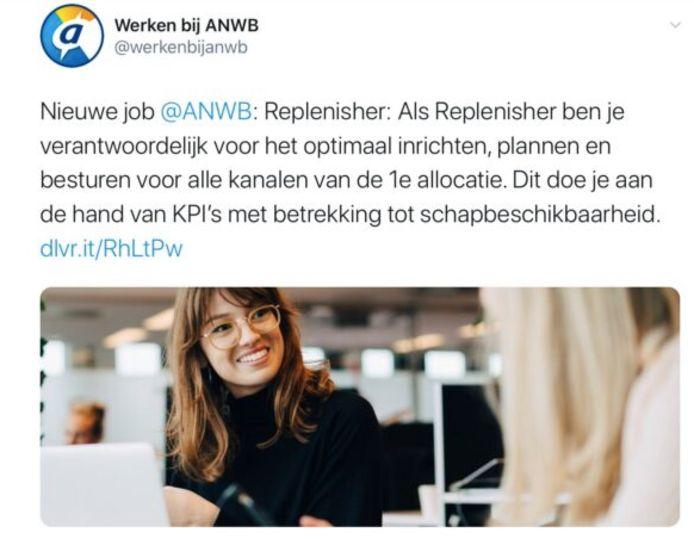 Screenshot van de originele ANWB-Tweet. ANWB heeft het bericht inmiddels verwijderd.