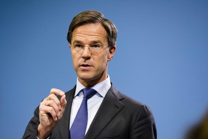 Premier Mark Rutte tijdens de wekelijkse persconferentie na de ministerraad