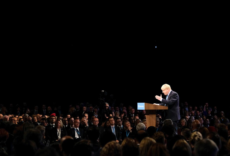 Premier Johnson woensdag tijdens zijn speech op de laatste dag van het congres van de Conservatieven in Manchester.
