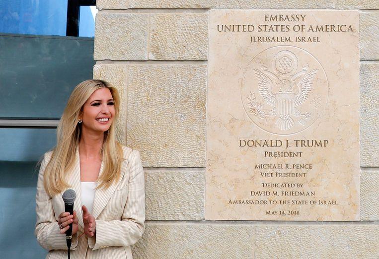 Ivanka Trump bij de opening van de nieuwe ambassade in Jeruzalem.  Beeld EPA